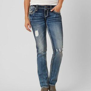 NEW BUCKLE $169 RETAIL Lanlan Straight Stretch Jean ROCK REVIVAL SIZE 25 / 0